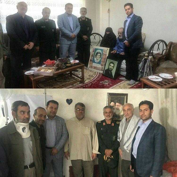 دیدار شهردار و سردار کمالی و سایر مسئولین از خانواده شهید و جانباز