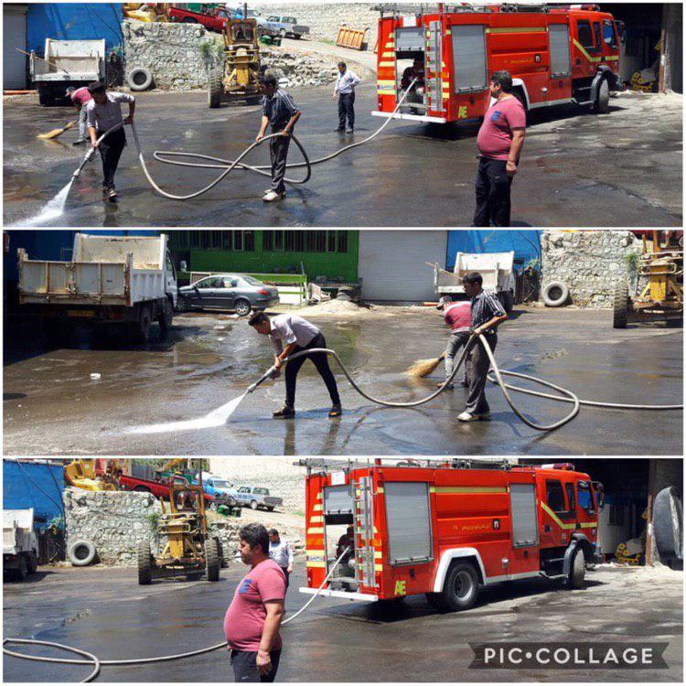 عملیات شستشو  و ضد عفونی پارک موتوری شهرداری رودهن