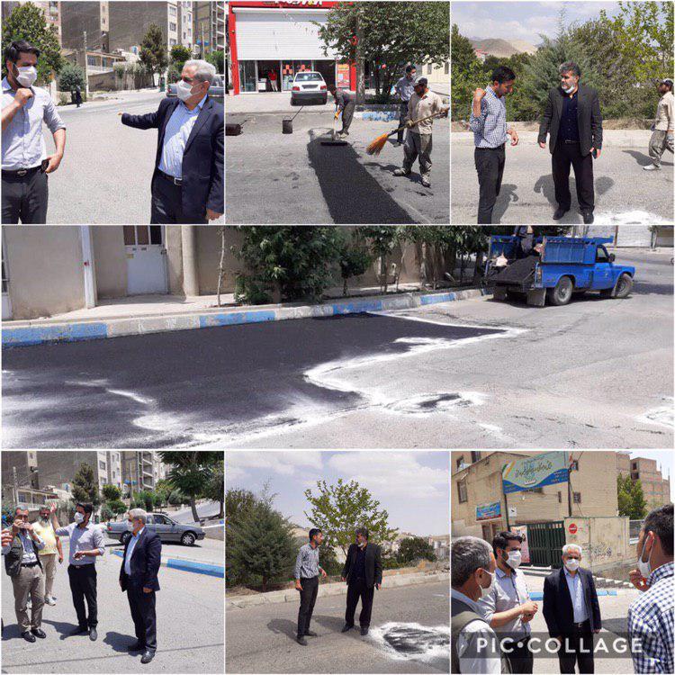 بازدید اعضای شورای اسلامی شهر رودهن از روند اجرای عملیات لکه گیری و آسفالت
