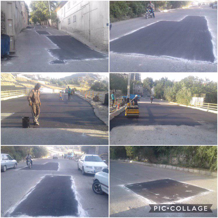 اجرای عملیات لکه گیری و آسفالت خیابان بهشتی توسط واحد عمران شهرداری رودهن
