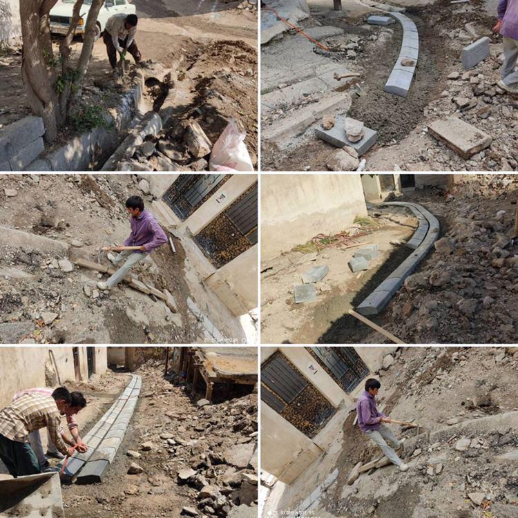 عملیات زیر سازی و جدول گذاری در شهرک سادات محله