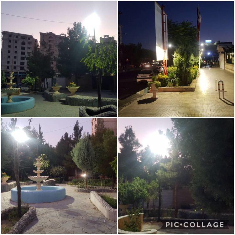 كابل كشي-نصب پروژكتور و پايه چراغ پارك هاي سطح شهر توسط واحد تأسيسات شهرداري رودهن