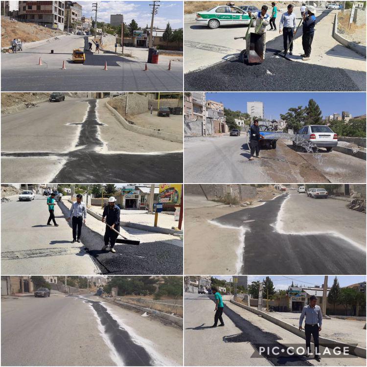 اجرای عملیات مرمت و لکه گیری آسفالت خیابان فرهنگیان توسط واحد عمران شهرداری