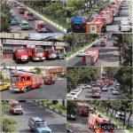 رژه خودروهای آتش نشانی در رودهن برگزار شد