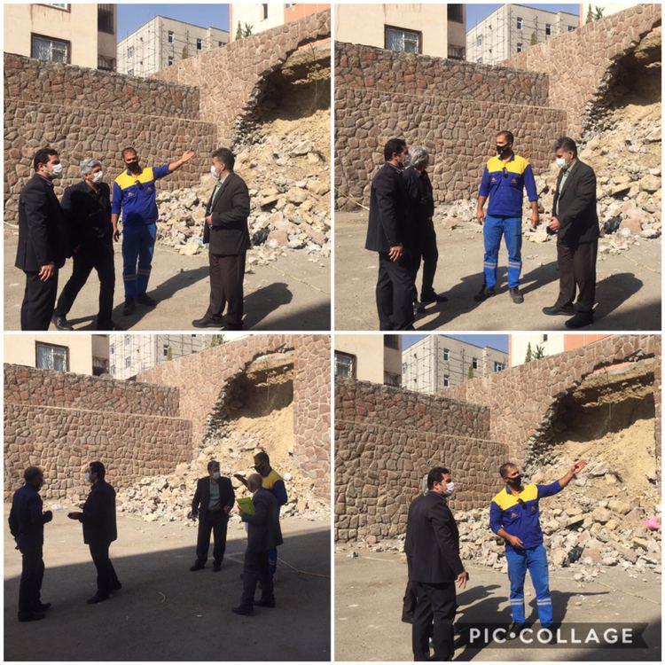بازدید اعضای شورای اسلامی  شهر و سرپرست شهرداری از ریزش دیوار حائل در مسکن مهر