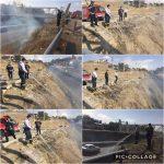 عملیات اطفا حریق حاشیه پل نمیر