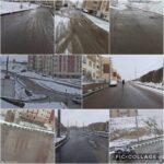 پاكسازي و نمك پاشي معابر مسكن مهر رودهن توسط واحد خدمات شهري شهرداري رودهن